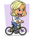 cartoon blonde girl character riding on bicycle vector image