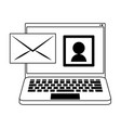 computer and envelope in black and white vector image vector image