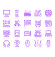 computer simple ultraviolet line icons set vector image vector image