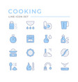cooking related set color line icons vector image vector image
