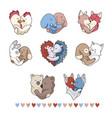 cute animal hug hearts hand drawn vector image