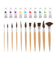 drawing equipment and paint tubes vecor elements vector image