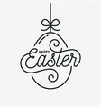 easter egg card happy easter linear egg on white vector image