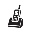 electric black telephon icon on white background vector image vector image