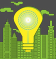 Energy saving lightbulb in front of the vector image vector image