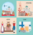 finland set with helsinki traditional cuisine vector image vector image