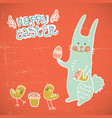 happy easter red doodle card vector image vector image