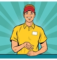 Happy fast food worker takes the order vector image vector image