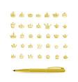 heraldic elements design set hand drawn golden vector image