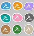 judge hammer icon Multicolored paper stickers vector image