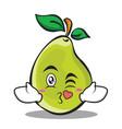 kissing face pear character cartoon vector image vector image