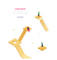 loneliness concept - modern isometric web vector image