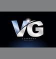 metal blue alphabet letter vg v g logo company vector image vector image