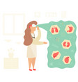 nurse in virtual reality learning anatomy vector image vector image
