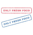 only fresh food textile stamps vector image vector image