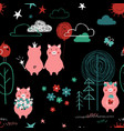 pigs in the forest seamless pattern vector image