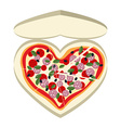 Pizza as a symbol of heart In a paper box vector image vector image