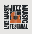 poster jazz music festival with guitar vector image vector image