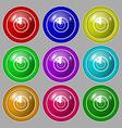 radar icon sign Symbol on nine round colourful vector image vector image