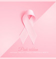realistic 3d pink silk ribbon breast cancer vector image vector image
