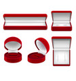 realistic red jewelry boxes set vector image vector image