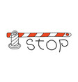 road barrier and stop sign conceptual image vector image vector image