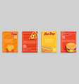 set fast food shop flyersbanners vector image