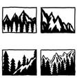 set hand drawn hiking and tourism emblems vector image vector image
