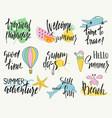 set hand drawn summer labels logos and vector image