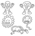 set of bacteria and antibiotics vector image vector image