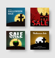 set of square web banners for halloween sale vector image