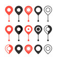 set red and black map pin vector image vector image