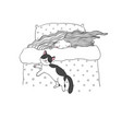 sleeping girl and cats good night sweet dreams vector image vector image