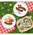 summer picnic outdoors realistic grilled vector image