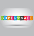 super sale tag discount message flat on grey vector image vector image