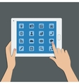 tablet pc with social media icons vector image vector image