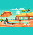 vacation leisure on tropical resort cartoon vector image