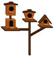wooden bird houses on one pole vector image vector image