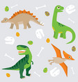 cute dinosaur pattern swatch vector image