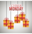 gifts hanging cyber monday card vector image