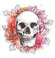 Skull And Flowers Sketch With Watercolor Effect vector image