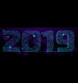 abstract polygonal numbers for new year 2019 with vector image
