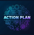 action plan round colored outline vector image vector image