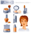 Beauty and cosmetics icon set with beautiful young vector image vector image