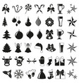 black and white 42 christmas elements vector image