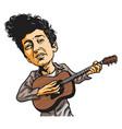 bob dylan cartoon playing guitar cartoon vector image vector image