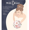 Bride with bouquet of roses vector image