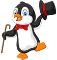 cartoon penguin holding hat and cane vector image vector image