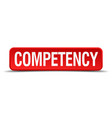 competency red three-dimensional square button vector image vector image