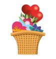 cute basket cartoon vector image vector image